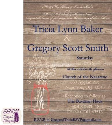 Tricia Baker & Gregory Smith Wedding Invitations