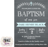 Katie Black Jake Baptism Invitations